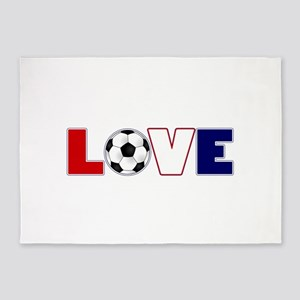 Love Soccer USA Colors 5'x7'Area Rug