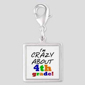 Crazy About 4th Grade Silver Square Charm