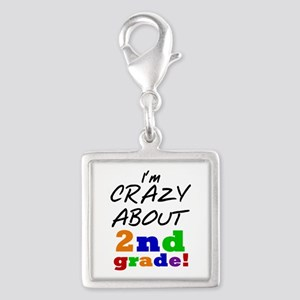 Crazy About 2nd Grade Silver Square Charm
