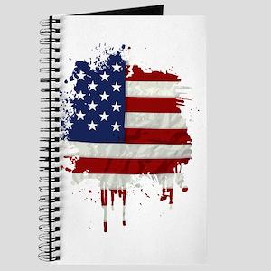 United States Flag Paint Splatter Journal