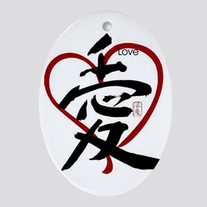 Asian Love Oval Ornament