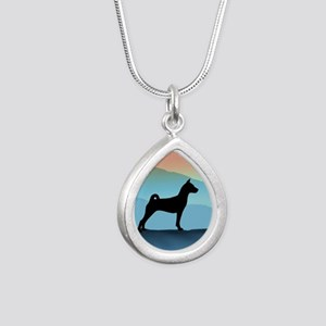 Blue Mountains Basenji Silver Teardrop Necklace