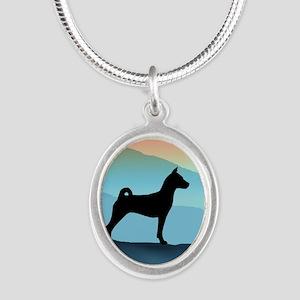 Blue Mountains Basenji Silver Oval Necklace