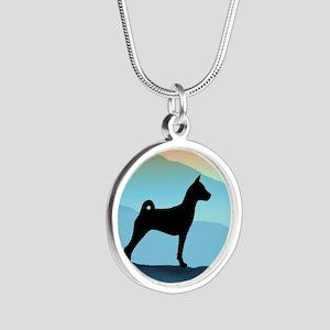 Blue Mountains Basenji Silver Round Necklace