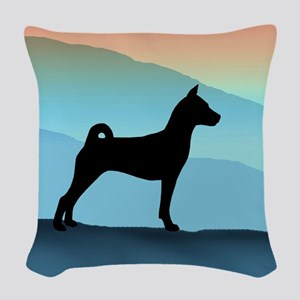 Blue Mountains Basenji Woven Throw Pillow