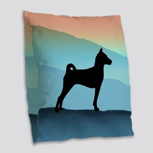 Blue Mountains Basenji Burlap Throw Pillow