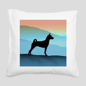 Blue Mountains Basenji Square Canvas Pillow
