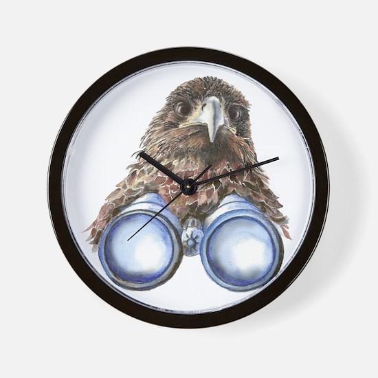 Fun Hawk Bird with Binoculars Wall Clock