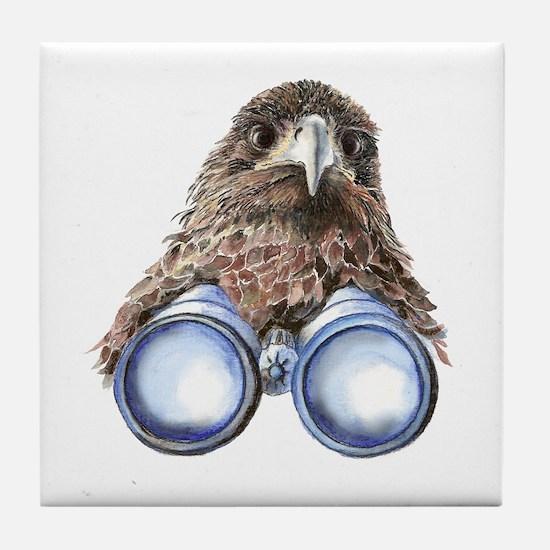 Fun Hawk Bird with Binoculars Tile Coaster