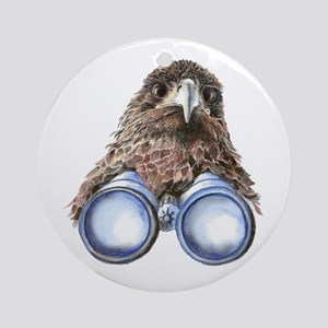 Fun Hawk Bird with Binoculars Ornament (Round)