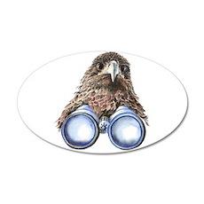 Fun Hawk Bird with Binoculars Decal Wall Sticker