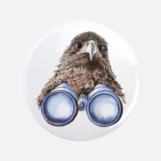 "Fun Hawk Bird with Binoculars 3.5"" Button"