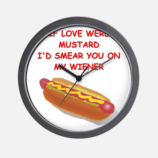 hot dogs Wall Clock