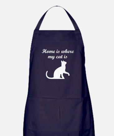 Home Is Where My Cat Is Apron (dark)