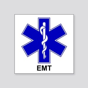 "Blue Star of Life - EMT Square Sticker 3"" x 3"""