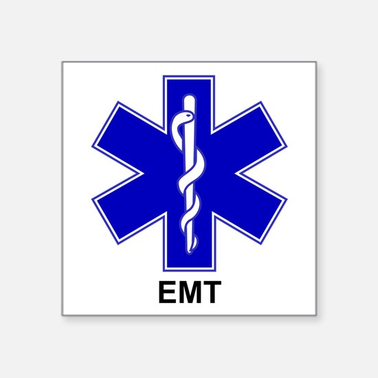 "Blue Star of Life - EMT.png Square Sticker 3"" x 3"""