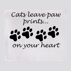 Cats Leave Paw Prints On Your Heart Throw Blanket