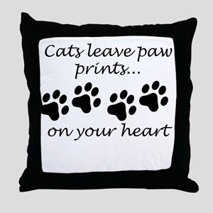 Cats Leave Paw Prints On Your Heart Throw Pillow