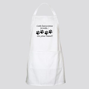 Cats Leave Paw Prints On Your Heart Apron