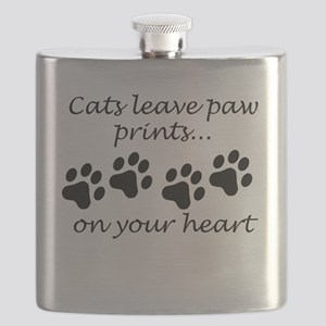 Cats Leave Paw Prints On Your Heart Flask