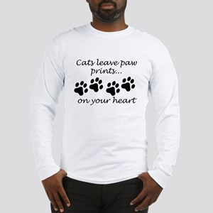 Cats Leave Paw Prints On Your Heart Long Sleeve T-