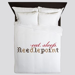 Eat,Sleep,Needlepoint Queen Duvet
