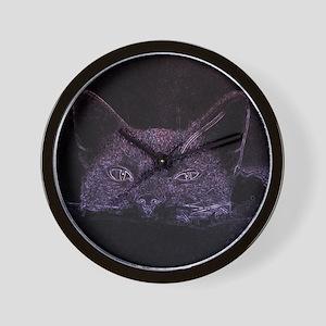 Black Cat Peeking Wall Clock