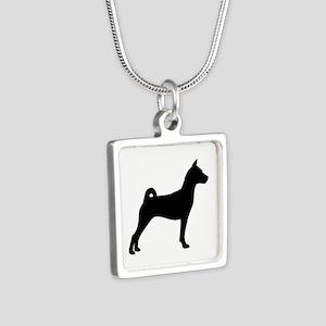 Basenji Dog Silver Square Necklace