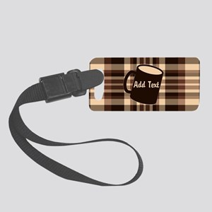 Coffee Lovers Plaid light Small Luggage Tag