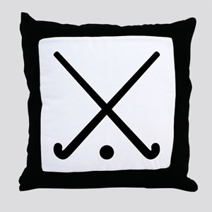 Crossed Field hockey clubs Throw Pillow