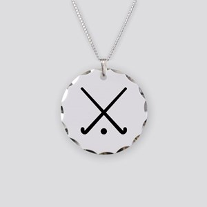 Crossed Field hockey clubs Necklace Circle Charm