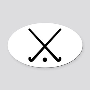 Crossed Field hockey clubs Oval Car Magnet
