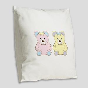 Two Teddies Burlap Throw Pillow