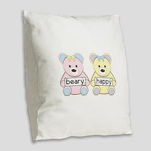Beary Happy Burlap Throw Pillow