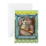 Beaver Brush Greeting Cards