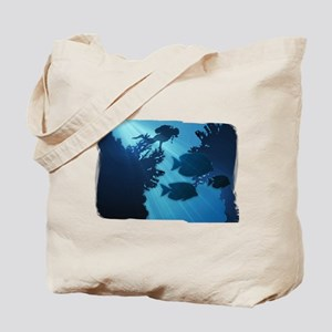Underwater Blue World Fish Scuba Diver Tote Bag