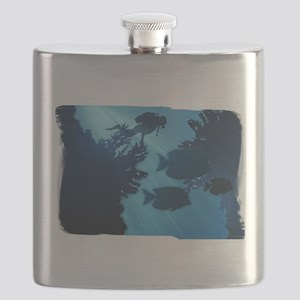 Underwater Blue World Fish Scuba Diver Flask