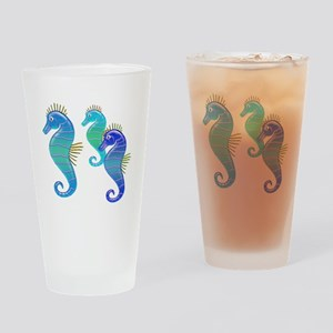 Blue Lavender Stained Glass Seahorse Trio Drinking
