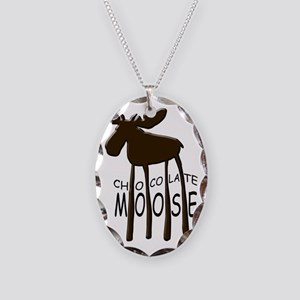 Chocolate Moose Necklace Oval Charm