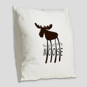 Chocolate Moose Burlap Throw Pillow
