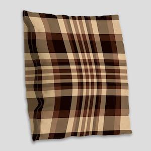 Coffee Lovers Plaid Burlap Throw Pillow