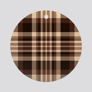 Coffee Lovers Plaid Ornament (Round)