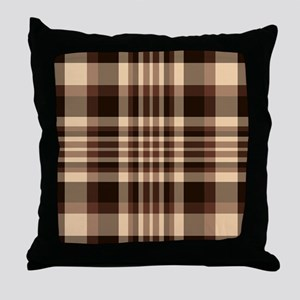 Coffee Lovers Plaid Throw Pillow