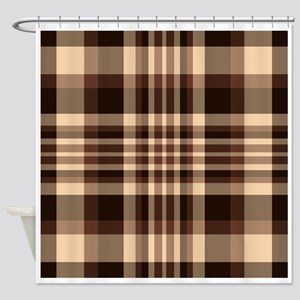 Coffee Lovers Plaid Shower Curtain
