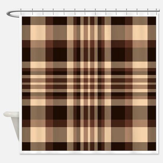 Coffee Lovers Plaid Shower Curtain