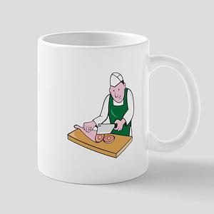 Butcher Chopping Meat Cartoon Mugs