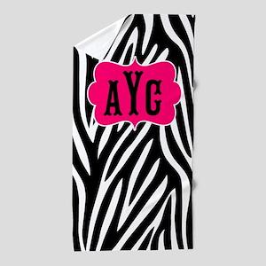 Zebra Print Pink Monogram Beach Towel