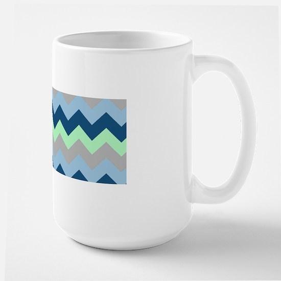 Modern Blues Chevron Stripes Large Mug