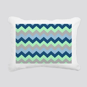 Modern Blues Chevron Str Rectangular Canvas Pillow