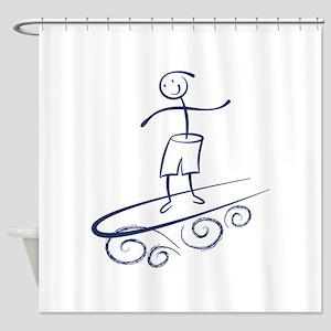 Stick Surfer Shower Curtain